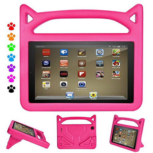 Fire 7 Tablet Case for Kids - Auorld Light Weight Shock Proof Handle Protective Cover with Built-in Stand for Flre 7 inch Display Tablet (Compatible with 2015&2017 Release) (Pink)