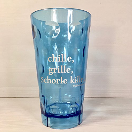 Pfälzer Dubbebecher chille, Grille, Schorle kille. 0,5 l aus Plastik (Polycarbonat) (blau)