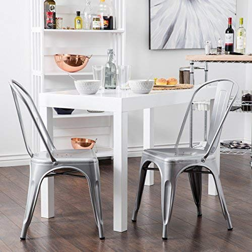 BELLEZE Set of (4) Industrial Style Chairs w/ Backrest Kitchen Bistro Cafe Chair Side Stack-able Vintage, Gray