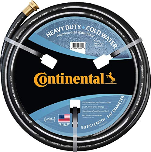 "Continental ContiTech Premium Garden, Black Heavy Duty Cold Water Garden Hose, 5/8"""" ID x 50' Length, MXF GHT"""