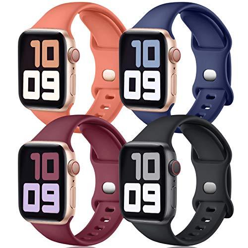 JUVEL Correa Compatible con Apple Watch Correa 40mm 38mm, Correas Deportivas de Silicona de Recambio Compatibles con iWatch Series 6/5/4/3/2/1/SE, 40mm/38mm M/L, Negro/Azul/Rojo/Coral