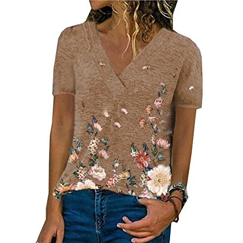 Chaqueta De Mujer De Cobertura De Primavera Y Verano con Cuello En V Camiseta De Manga Corta con Estampado Informal para Mujer