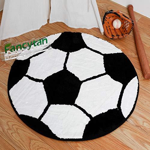 Kinderteppich rund Teppich Stuhl Matte Boden für Kinderzimmer Spielteppiche ( Fußball , Durchmesser 80cm )