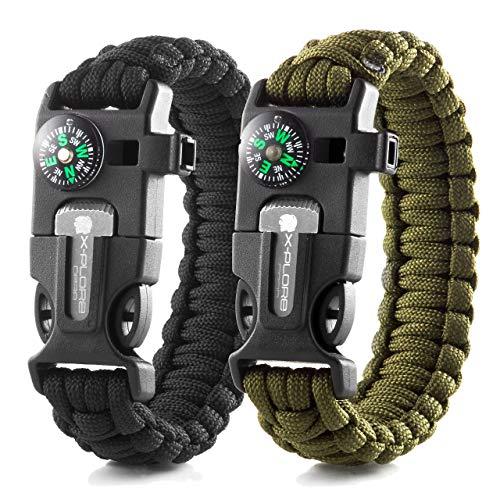 X-Plore Gear Emergency Paracord Bracelets   Set of 2  The Ultimate Tactical Survival Gear  Flint Fire Starter, Whistle, Compass & Scraper   Best Wilderness Survival-Kit - Black(R)/Green(R)
