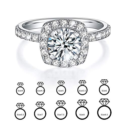Moissanite ring, Engagement Rings for Women Brilliant Round cut Stone with Sterling Silver Shank for Proposal Engagement Wedding, Box Included (6)