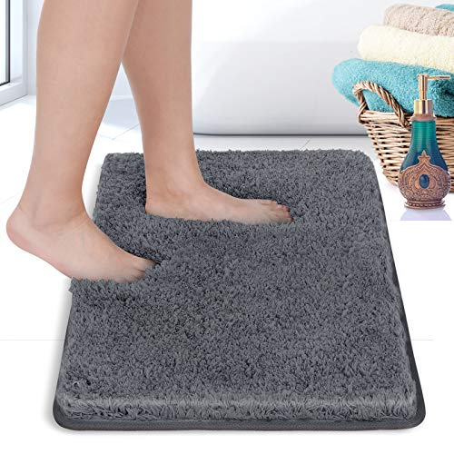 RiyaNed Rutschfester Badezimmerteppich, Saugfähiger Weicher und Flauschiger Badematte, Duschteppiche für Badewanne, Dusche und Bad, Maschinenwaschbar, Leicht zu Reinigen (Grau, 50x80cm)