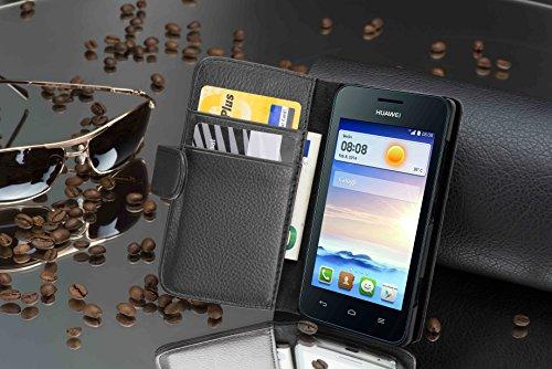 Cadorabo Hülle für Huawei Ascend Y330 - Hülle in Oxid SCHWARZ – Handyhülle mit Kartenfach aus struktriertem Kunstleder - Case Cover Schutzhülle Etui Tasche Book Klapp Style - 3