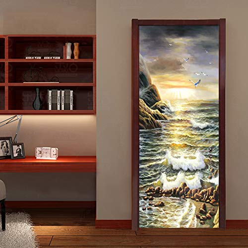 Mural Para Puerta Océano Pintura Al Óleo Paisaje Creativo Salón Dormitorio Desmontable Autoadhesivo Papel Pintado Puertas 90 X 200 cm