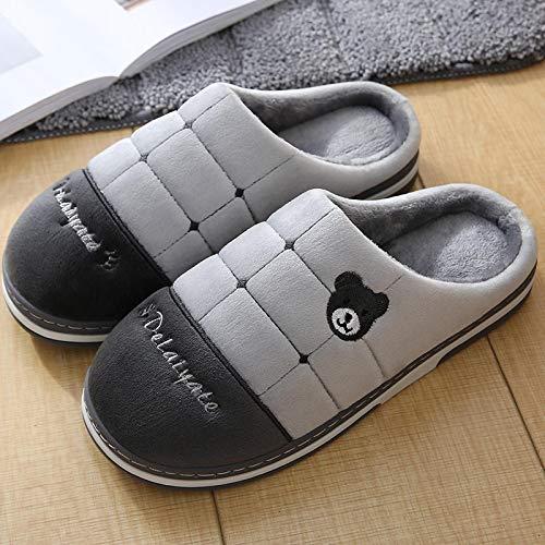 Zapatillas Invierno Más El Tamaño 43-45 Oso De Moda Zapatos De Interior Mujer TPR Cómodas Zapatillas De Invierno Zapatillas De Cuero De Color Sólido A