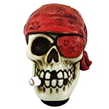 Abfer Pirate Shift Knob Car Skull Gear Shifter Lever Shifting Knob One-Eyed Unique Style Fit for Most Automatic Manual Vehicle Truck, Red
