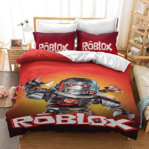 NICHIYO Roblox Juego de ropa de cama – Funda de edredón y funda de almohada de microfibra, impresión digital 3D (funda nórdica + fundas de almohada) (22,individual 135 x 200 cm)