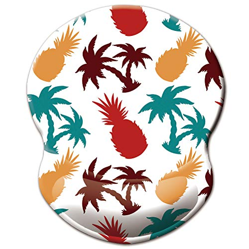 ITNRSIIET Mouse Pad, Ergonomic Mouse Pad with Gel Wrist Rest Support, Gaming Mouse Pad with Lycra Cloth, Non-Slip PU Base for Computer, Laptop, Home, Office & Travel,Palm Trees and Pineapples