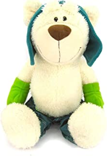 HYST Soft Skiing Bear Stuffed Animal Plush for Christmas Valentine's Day Birthday Party 10 inch (White)