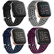 【High-Quality Breathable Sport Straps for Fitbit Versa 2/Versa SE/Versa Lite for Women Men】: Made of premium soft silicone material, No skin irritation or rub any more. Super smooth, comfortable and durable for daily wear(Fitbit Versa watch NOT inclu...