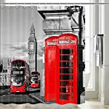 Cortina de ducha de Londres para baño, cabina de teléfono de Londres en la calle tradicional local cultural Inglaterra Reino Unido Retro decoración de baño, cortina de ducha de tela, ganchos...