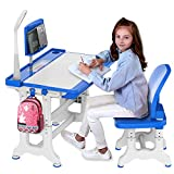 Kids Desk and Chair Set, Height Adjustable Kids Table and Chair Set, Home School Use Tiltable Anti-Reflective Children Study Table with Touch LED Light/Reading Board/Pull-Out Drawer