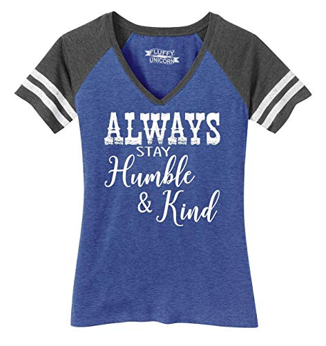 Ladies Game V-Neck Tee Always Stay Humble & Kind Country Music Song Heathered True Royal/Heathered Charcoal L