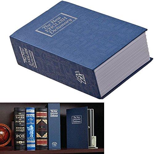 Bello libro di cassaforte con chiusura a chiave, dizionario, la sicurezza in casa e 2 chiavi in dotazione, in acciaio, colore: blu, misura S