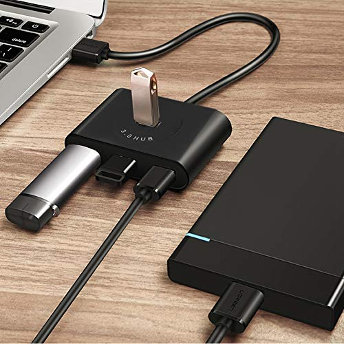 Crisis Hub, 5Gbps 4-Port USB3.0 Hub Adapter, Portable Plug and Play, for DC 5V (Positive) Adapter Power Supply Laptop for Computer