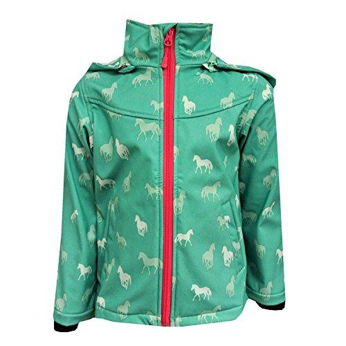 Outburst - Mädchen Softshelljacke Regenjacke mit Kapuze Pferde-Motiv 10.000 mm Wassersäule, grün - 8470509, Größe 98