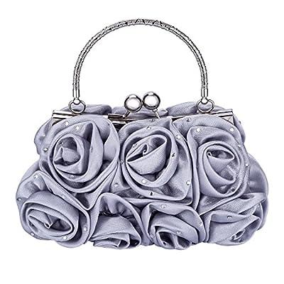 Emour Women Satin Rose Rhinestone Pure Color Handbag Evening Bags Wedding Handbags Carved Handle