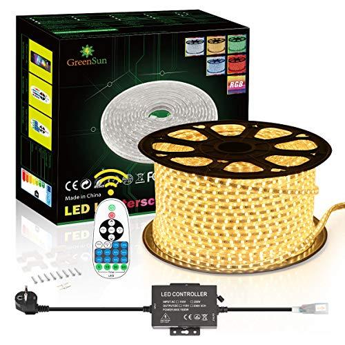 LED Streifen, 30m Warmweiß LED Streifen, GreenSun LED Strip Light Wasserdichte LED-Beleuchtung Flexible Rope Lights, Warmweiß für Gärten, Häuser, Küche, Bar, DIY Party, Weihnachtsdekoration