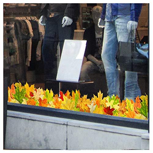 Stickers4–Herbst Dekoration–Blätter Deko Bordüre Doppelseitige Fenster-Sticker – Fotorealistische Herbstdekoration Fenster