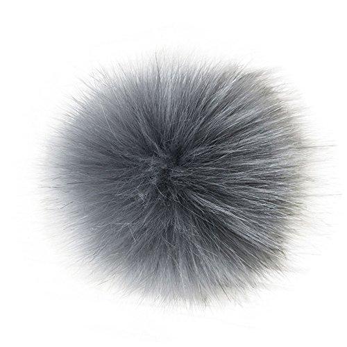 Verlike 14 cm/16 cm weicher Kunstfell-Pompon DIY Auto Handtasche Schlüsselanhänger flauschiger Ball Anhänger, Kunstfell, grau, 14 cm