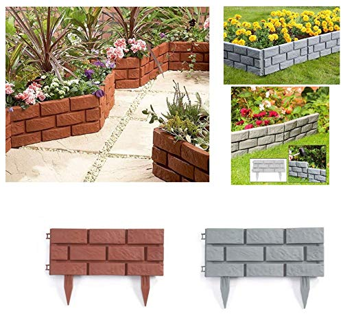 Pack of 8 Plastic Brick Effect Lawn Garden Grass Edging Skirting Border Picket Fence in 2 Colours (Terracotta)