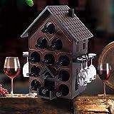 WJJH Casier à vin, casier à vin Type casier à vin créatif Raisin Solide Bois casier à vin casier à vin Verre Verre à l'envers décoration Armoire à vin,1