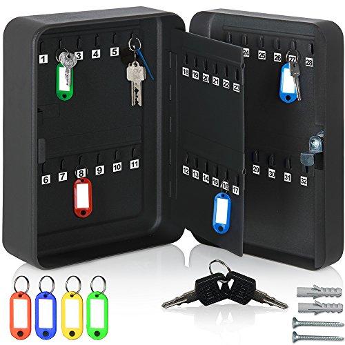 Monzana Schlüsselkasten für 48 Haken inkl. 48 beschreibbaren Schlüsselanhänger Schlüsselbox abschließbar Stahl Key Box