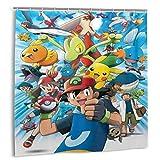 rainbowpig Cartoon Anime Pokemon -Polyester Stoff Duschvorhang Set mit 12 Haken, Moderne Badezimmer Home Decoration, wasserdicht 72 '' X 72