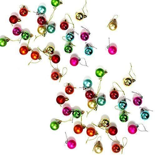 Robelli Pack of 50 Miniature Shiny & Matte Christmas Tree Baubles (Multicolour (48))