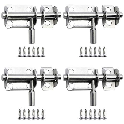 Door Slide Bolts 4 Pcs Thickened Slide Lock Stainless Steel 24 M4 x 12 mm Screws Surface Installation of Most Types of Interior Doors for Garden Doors Shed Doors Toilets Bathrooms