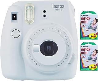 Fujifilm Instax Mini 9 Instant Camera (Smokey White) with 2 x Instant Twin Film Pack (40 Exposures)