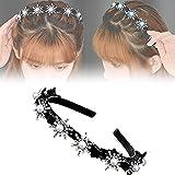 Double Bangs Hairstyle Hairpin Headband,Korean Fashion Headband,Non-Slip Handmade Rhinestone Pearl Headband Braiding Device with Hairpins Hair Styling Tool (C)