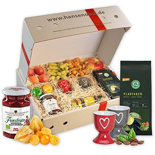Obstbox Frühstück mit frischem Obst, Kaffee und Marmelade in klassischer Geschenkbox für ein leckeres Frühstück