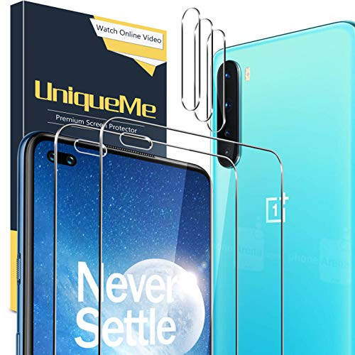 UniqueMe [2+3 pièces] Verre Trempé pour Oneplus Nord avec Outil d'installation et Protection Camera pour Oneplus Nord Verre Trempe avec Un Service après-Vente Parfait.