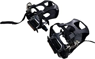 DONGKER Bike Pedals, Mountain Bicycle Pedals Fixed Pedal with Clips and Straps for Exercise Bike, Spin Bike and Outdoor Bicycles