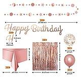 Jjwlkeji Vajilla De Fiesta Decoraciones de la Fiesta de Oro Rosa Set Feliz cumpleaños Confeti Globos con Pancarta Pompones Partmes Fiesta Set (Color : Z28162)