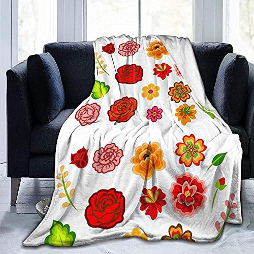 Mexican Flowers Throw Fleece Blanket Flannel Ultra Soft Lightweight Microfiber Luxury Air...