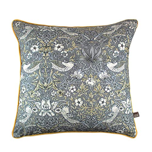 Scatter Box Vivaldi Velour Feather Filled Piped Cushion, Grey/Gold, 58 x 58 Cm