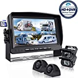 Backup Camera System with 9'' Large Monitor and DVR for RV semi Box Truck...