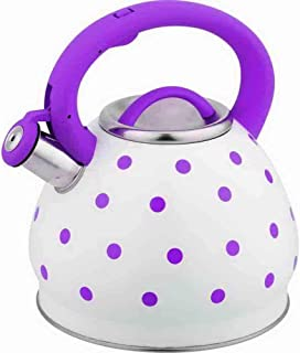 HOUSIYU Stainless Steel Whistling Kettle Large Capacity Polka Dot Teapot with Anti-scalding Handle for All Stoves3L, Purple