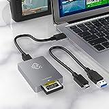 CFexpress - Lector de tarjetas tipo A USB 3.1 Gen2 10 Gbps de aluminio adaptador de tarjeta de memoria Thunderbolt 3 puertos compatible con Android/Window/Mac OS/Linux con 2 cables para portátil