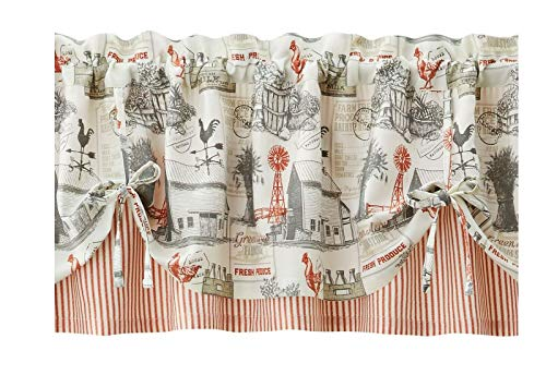 Rooster Windmill Farm Barn Themed Valance Window Treatment Topper Farmhouse Rustic Country Style