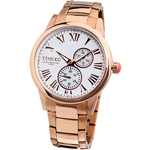 Time100 Reloj de Pulsera Hombre, Color Dorado