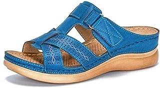 HUANGA Sandales à glissière confort pour femmes Boucle réglable Sandales plates en EVA Pantoufles Sangles Glissières Chaus...