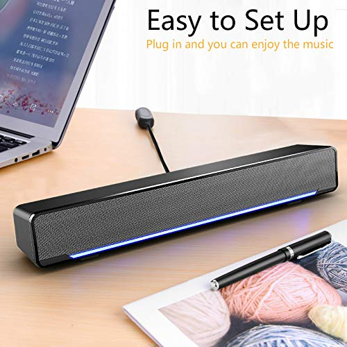 Soundbar, Maboo USB Powered Sound Bar Speakers for Computer Desktop Laptop PC, Black (USB)