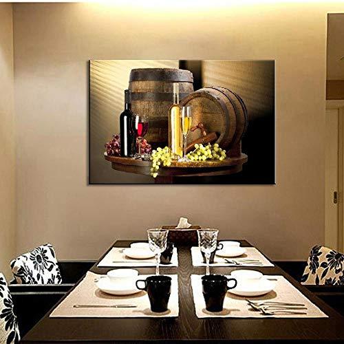 Still Life Wijnflessen Muurschildering Rode Wijn en Champagne met Glas Fruit Barrel Foto voor Keuken Geen Frame 60cmx90cm